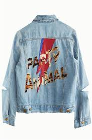 distressed jean jacket blue jean jacket thrift fashion diy fashion painted jeans