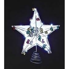 Lighted Silver Scrolling Wire Star Christmas Tree Topper U2013  Xmas Christmas Tree Lighted Star
