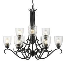 golden lighting parrish 9 light black chandelier with seeded glass shade