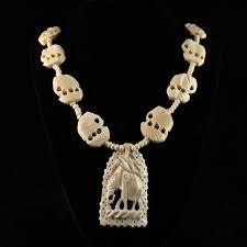 carved bone elephant necklace pendant faux ivory beads 26