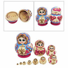 10 wooden layers russian dolls children toy colorful handmade cute nesting toys hand painted craft kids matryoshka doll