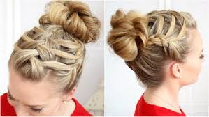 French Braid Updo Hairstyles Triple French Braid Double Waterfall Youtube