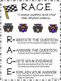 Citing Evidence Anchor Chart Anchor Chart For Teaching Race Restate Answer Cite Evidence And Explain