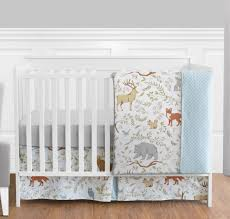 sweet jojo perless blue grey forest animal baby girl boy 4pc crib bedding set
