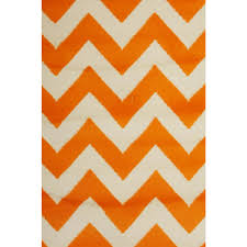 bright modern rugs chevron retro funk orange white