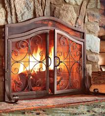 decorative fireplace screens within plow hearth crest large screen with doors solid wrought idea 15