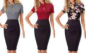 Homeyee Womens Short Sleeve Business Church Dress B430
