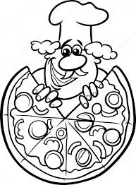 Italiaanse Pizza Cartoon Kleurplaat Stockvector Izakowski 48505599