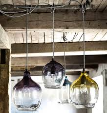 eclectic hand blown glass pendant