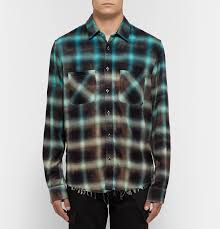 Mens Designer Flannel Amiri Distressed Tie Dyed Checked Cotton Flannel Shirt