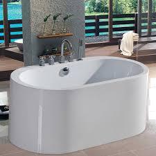 aquatica purescape acrylic high gloss white oval freestanding bathtub with center drain common 30
