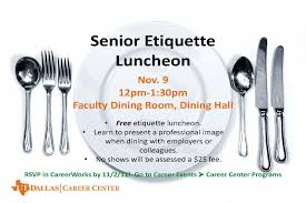 Career EventsPrograms  Page   UTD Career Center Bits - Dining room etiquette