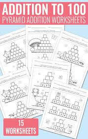 Pyramid Addition up to 100 Worksheets - Easy Peasy Learners