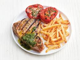grilled tuna with garlic fries recipe food network kitchen food network