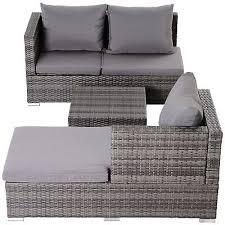 outsunny rattan garden sofa set storage