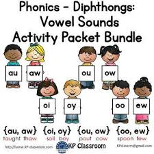 Oi Oy Anchor Chart Diphthongs Au Aw Oi Oy Ou Ow Oo Ew Vowel Sounds Activity Packet Bundle