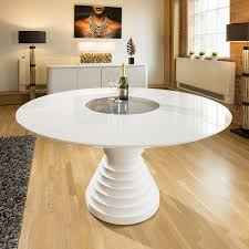 stunning large round white gloss dining table with glass insert gual