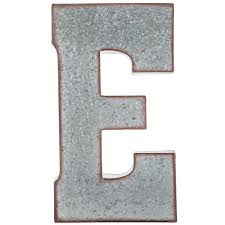 galvanized metal letter wall decor e