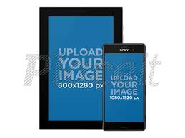 android galaxy tablet with android phone responsive mockup over a png background a11881foreground image
