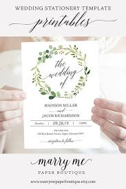 Greenery Wedding Invitation Set Invitation Template