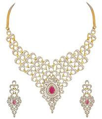 youbella golden american diamond necklace set with earrings