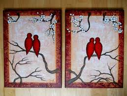 original painting love birds textured canvas painting two 12 x 16 canvas wedding gift modern wall decor boho style decor canadian art red