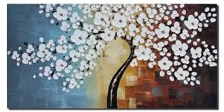 and framed white flowers artwork 100 hand painted fl oil paintings on canvas wall art for living room bedroom home decorations 48x24inch paintings