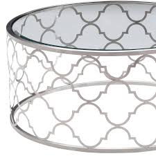 armen living florence coffee table in brushed silver finish with clear glass top lcflcoglbs