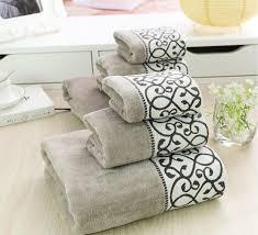 Designer Bath Towels New Luxury 3pcs 100 Cotton Towel Set Bath Towels Grey Animal Bathroom Towel Set