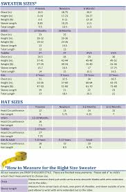 Custom Size Chart Crochet Size Chart For Infants Custom Knits For Baby Size