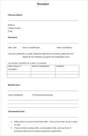 Blank Resume Template Pdf Inspiration Blank Resume Template Pdf Templates Cv For Free Swarnimabharathorg