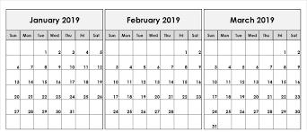 January February March 2019 Printable Calendar 30 Day Calendar