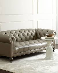 morgan gray tufted leather sofa grey old hickory tannery