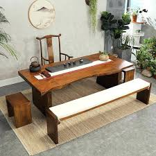 antique tea table new and chair combination solid wood slab zen coffee decor