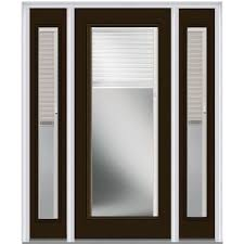 mmi door 60 in x 80 in internal blinds left hand inswing full lite clear painted steel prehung front door with sidelites z013886l the home depot