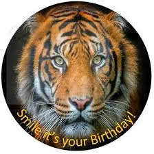 tiger face happy birthday cake topper