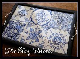 Victorian Tile Serving Tray in Blues