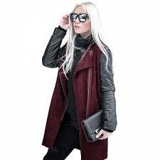 ซ อท ไหน fashion women patchwork long wool pu leather sleeve jacket coat jackets casual overcoats outerwear streetwear ในประเทศไทย