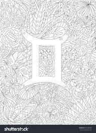 Zodiac Sign Gemini Floral Geometric Doodle