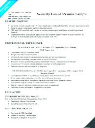 Sample Resume For Security Guard Position Supervisor Free Letter ...