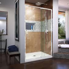 framed pivot shower door in