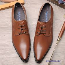 dress shoes men fashion business pointed toe men s trend genuine leather brown