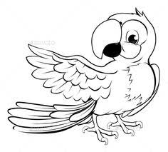 parrot pointing by krisdog cartoon parrot character in black outline pointing with its wing