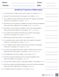 identifying properties of mathematics worksheets