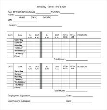 Payroll Time Sheet Employee Timesheet Template 3 Free