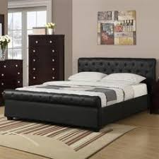 upholstered leather sleigh bed. Frolax Solid Pine Wood Black Upholstered Faux Leather Tufting Full Bed Sleigh E