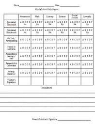 Daily Behavior Chart For Middle School Classroom Behavior