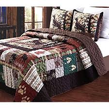 Amazon.com: Greenland Home Moose Lodge Quilt Set, Full/Queen: Home ... & Greenland Home 3 Piece Whitetail Lodge Quilt Set, Full/Queen Adamdwight.com