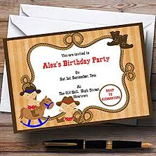 Personalised Birthday Invitations For Kids Childrenss Kids Party Invites Western Cowboy Theme Personalised