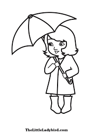 Free Girl With Umbrella Coloring Page Thelittleladybirdcom